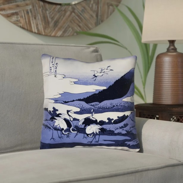 Montreal Japanese Cranes Outdoor Throw Pillow Size: 16