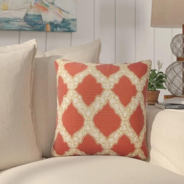 J Geometric Cotton Throw Pillow Color: Cayenne