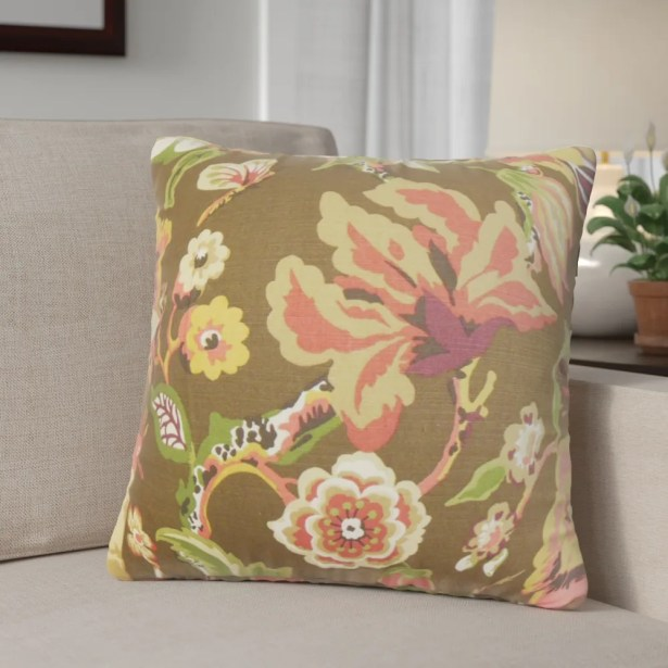 Pearse Floral Throw Pillow Color: Chocolate, Size: 22