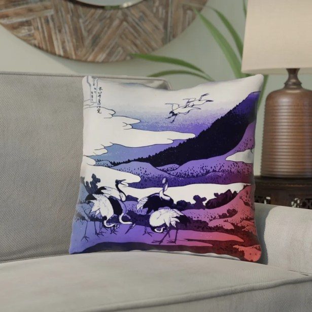 Montreal Japanese Cranes Linen Throw Pillow Size: 16
