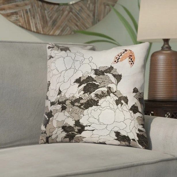Clair Peonies with Butterfly Linen Throw Pillow Size: 14