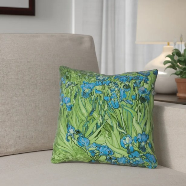 Morley Irises Throw Pillow Size: 18