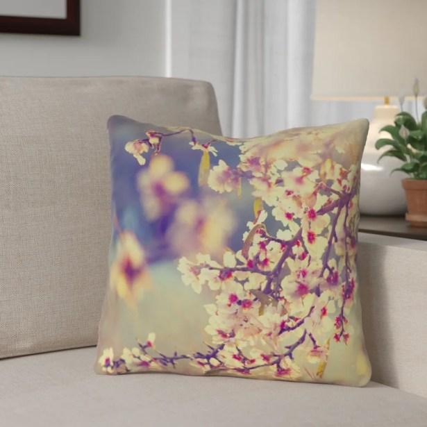 Ghost Train Country Cherry Blossoms Throw Pillow
