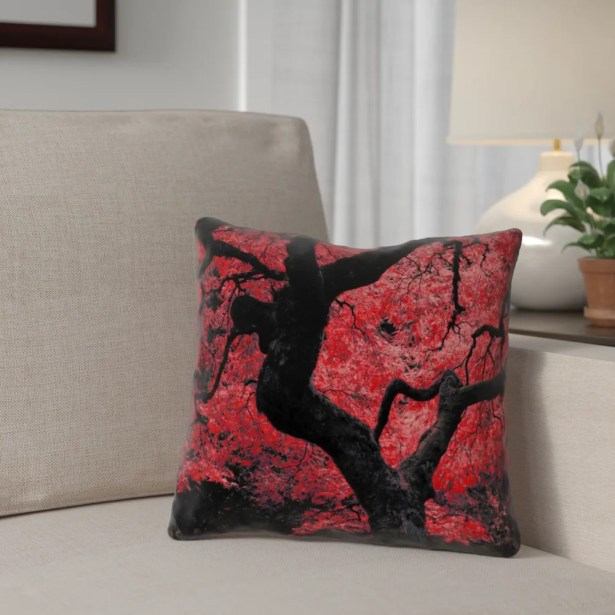 Ghost Train Japanese Maple Tree Printed Zipper Pillow Cover Size: 18