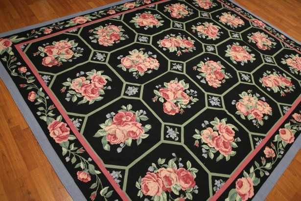 One-of-a-Kind Rebello Needlepoint Hand-Knotted Wool Black/Pale Pink Area Rug
