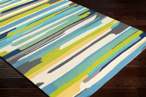 Farkas Hand-Hooked Cream/Lime Green Indoor/Outdoor Area Rug Rug Size: Rectangle 9' x 12'