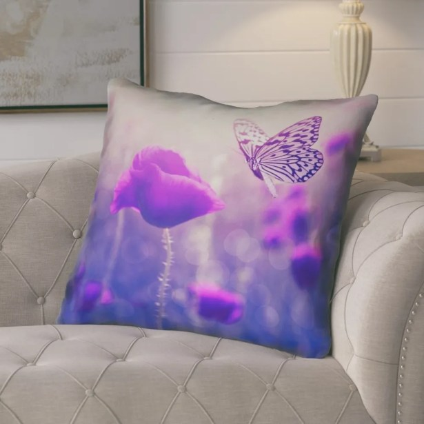 Mariani Butterfly and Rose Throw Pillow Size: 40