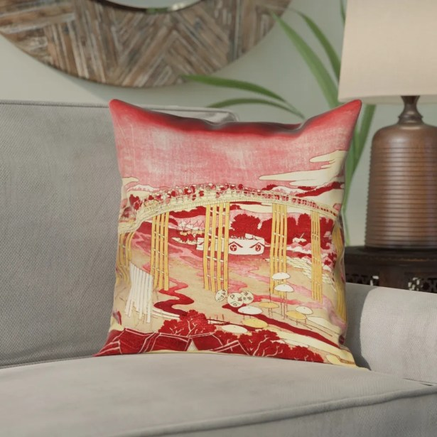 Enya Japanese Bridge Double Sided Print Pillow Cover Size: 26