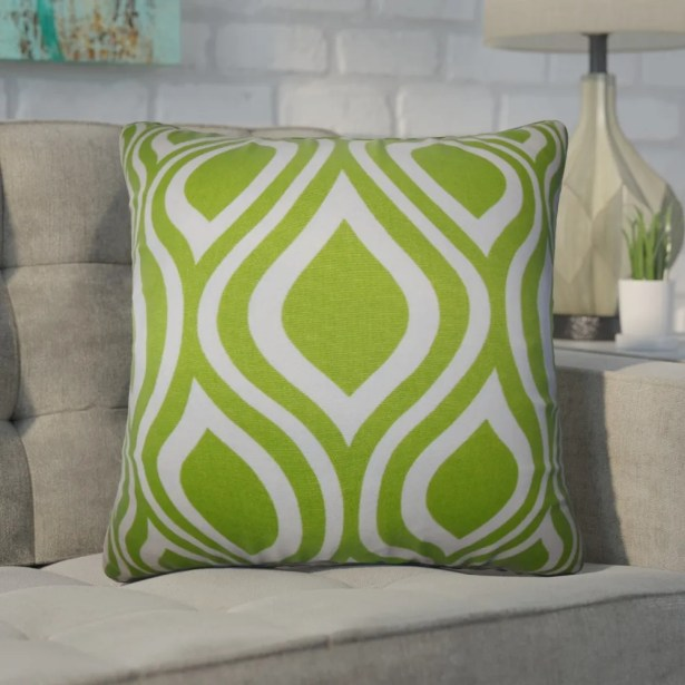 Wolff Geometric Cotton Throw Pillow Color: Green