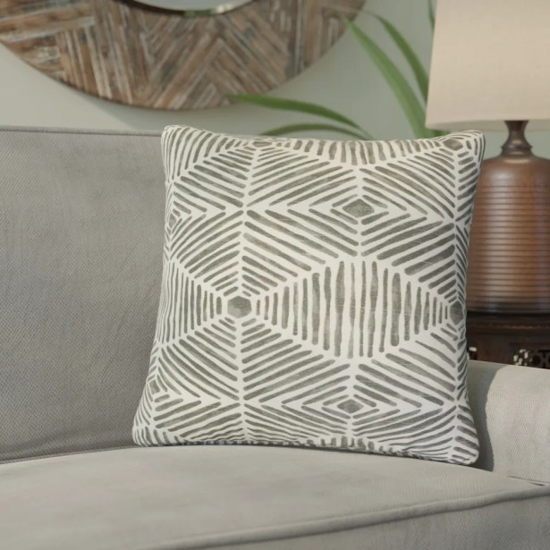 Tricia Geometric Cotton Throw Pillow Color: Gray