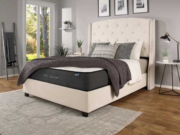 Chenery Upholstered Platform Bed with Mattress Size: California King, Color: Ivory