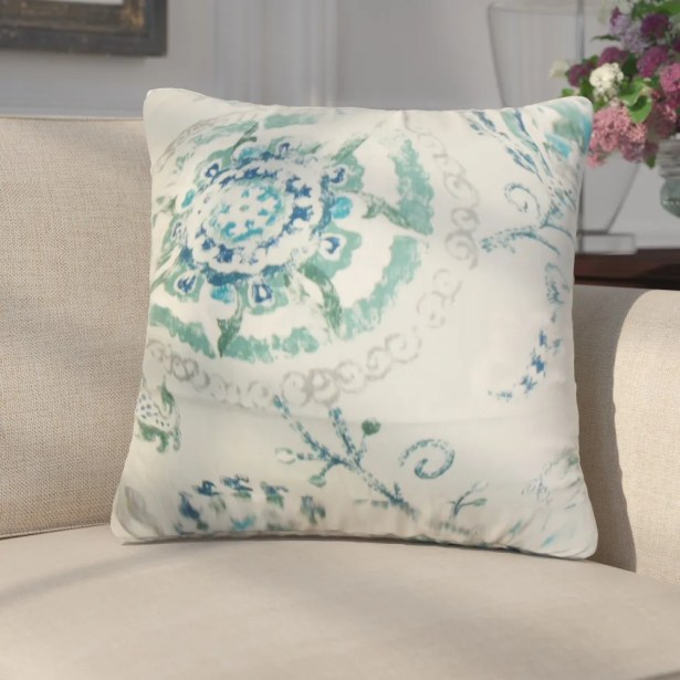 Laurenza Floral Linen Throw Pillow Color: Green