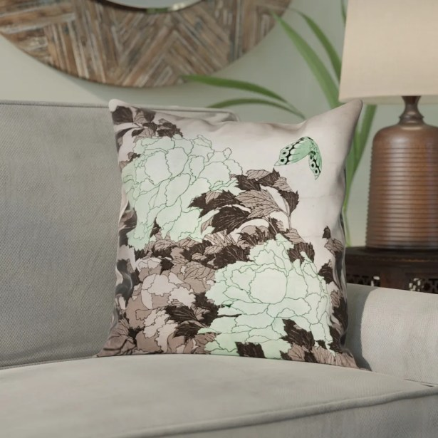 Clair Peonies and Butterfly Square Suede Pillow Cover Size: 18
