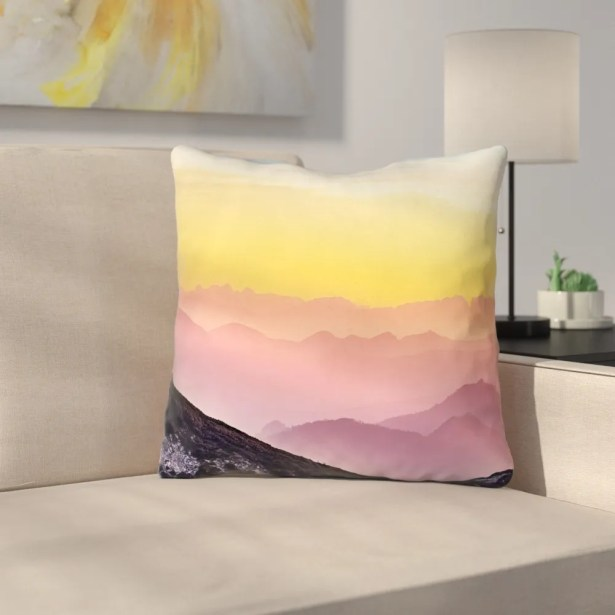 Thang Pastel Landscape Double Sided Print 100% Cotton Throw Pillow Size: 16