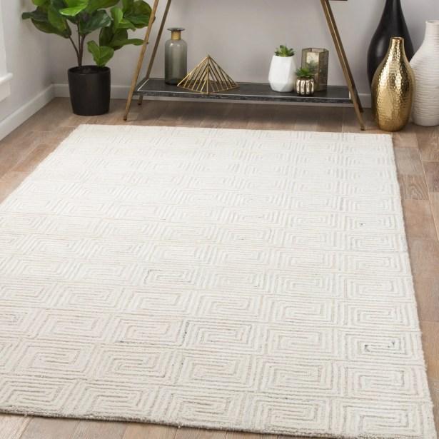 Heavner Hand-Tufted Whisper White/Oatmeal Area Rug Rug Size: Rectangle 9' x 13'