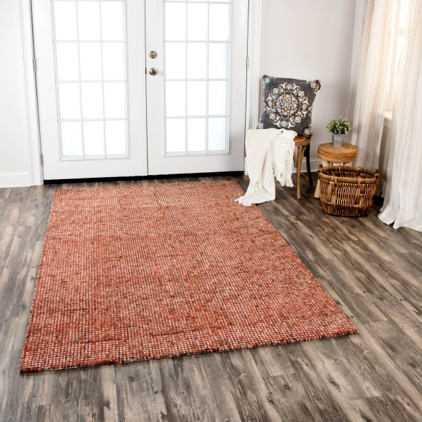 Eley Hand-Tufted Wool Red Area Rug Rug Size: Rectangle 8' x 11'