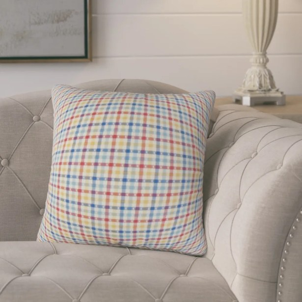 Charles Plaid Cotton Throw Pillow Color: Red/Blue/Yellow