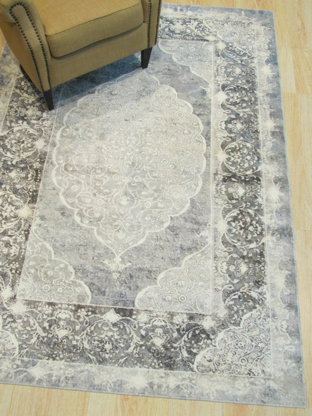 Phares Medallion Distressed Gray Area Rug Rug Size: Rectangle 5'11