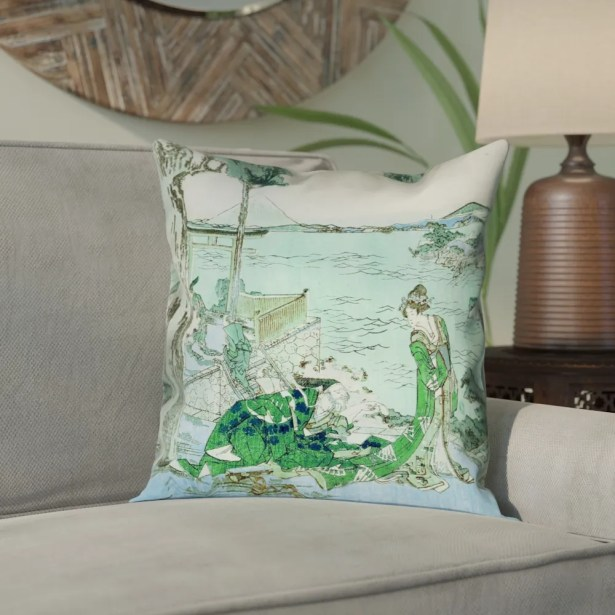 Enya Japanese Courtesan Square Cotton Pillow Cover Size: 26