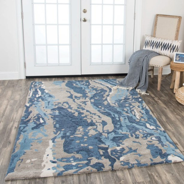 Gomes Hand-Tufted Wool Blue Area Rug Rug Size: Rectangle 8' x 10'