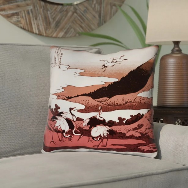 Montreal Japanese Cranes Double Sided Print Throw Pillow Size: 18