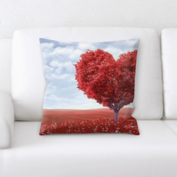 Bonomo Love and Heart Shapes Throw Pillow