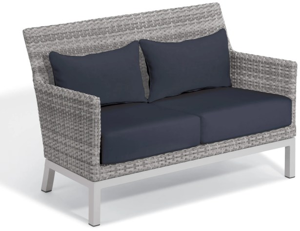 Saleem Loveseat with Cushions Cushion Color: Midnight Blue