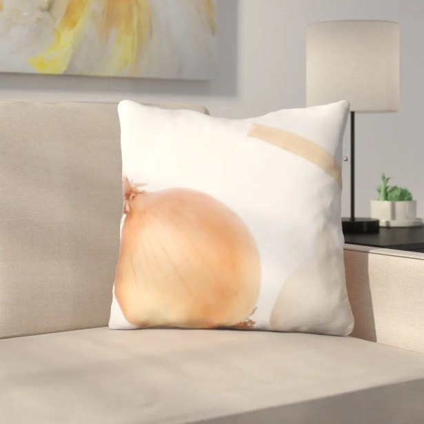Benson Cooking Onions and Garlic Throw Pillow