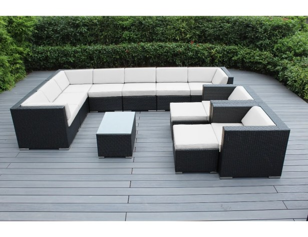Konen 12 Piece Rattan Sectional Set with Cushions Cushion Color: Red, Frame Finish: Mixed Brown
