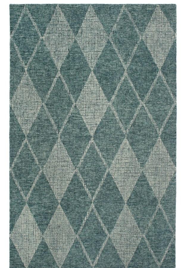 Finkelstein Diamond Hand-Woven Wool Green Area Rug Rug Size: Runner 2' x 7'5