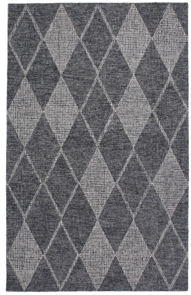 Finkelstein Diamond Hand-Woven Wool Gray Area Rug Rug Size: Rectangle 3'5