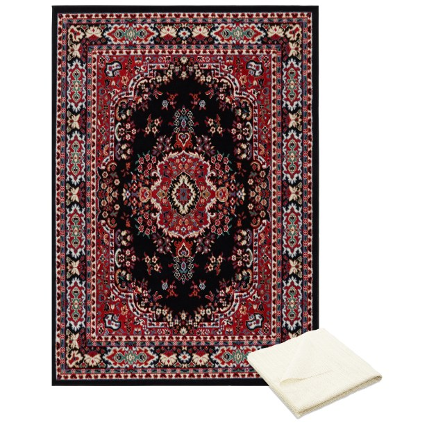 Rossman Black/Red Area Rug Rug Size: Rectangle 7'8