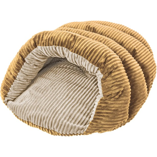 Sleep Zone Cuddle Cave Corduroy Hooded Dog Bed Color: Tan/Cream