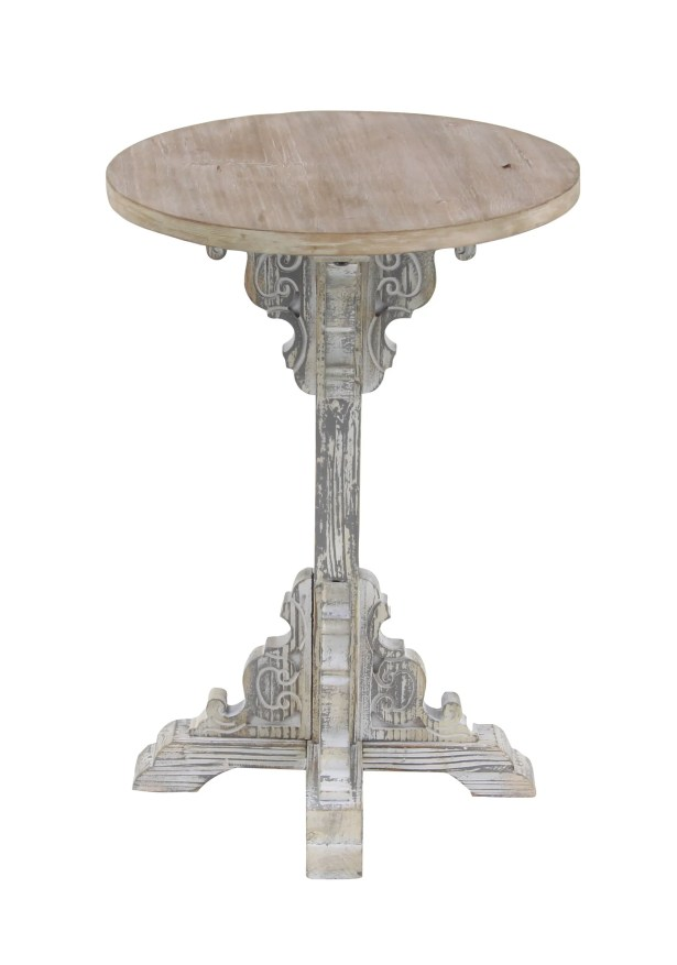Chadwin Traditional Round Wood End Table Table Base Color: Gray