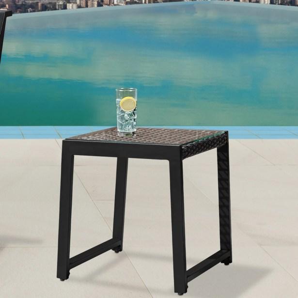 Calvin Aluminum Side Table Color: Black