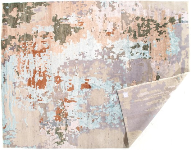 Modern Design Hand-Knotted Wool Tan Area Rug