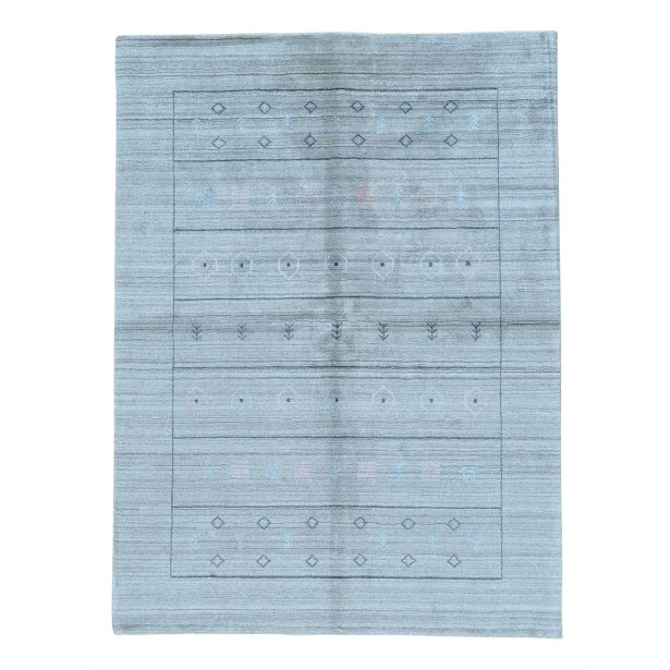 One-of-a-Kind Brienne Modern Hand-Knotted Gray Blue Area Rug
