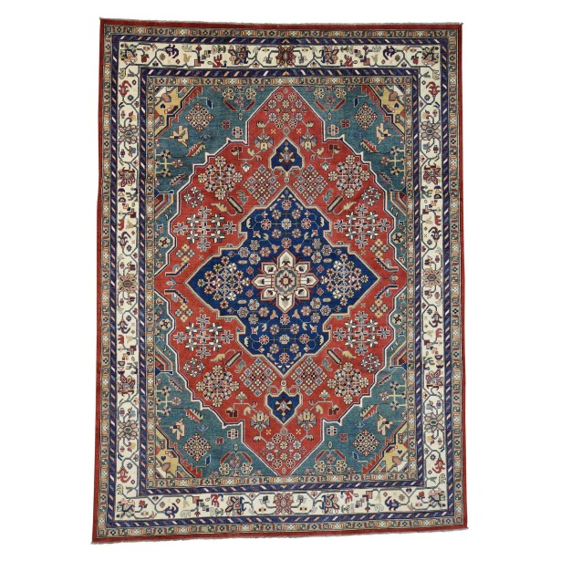 One-of-a-Kind Tillett Special Hand-Knotted Teal Area Rug