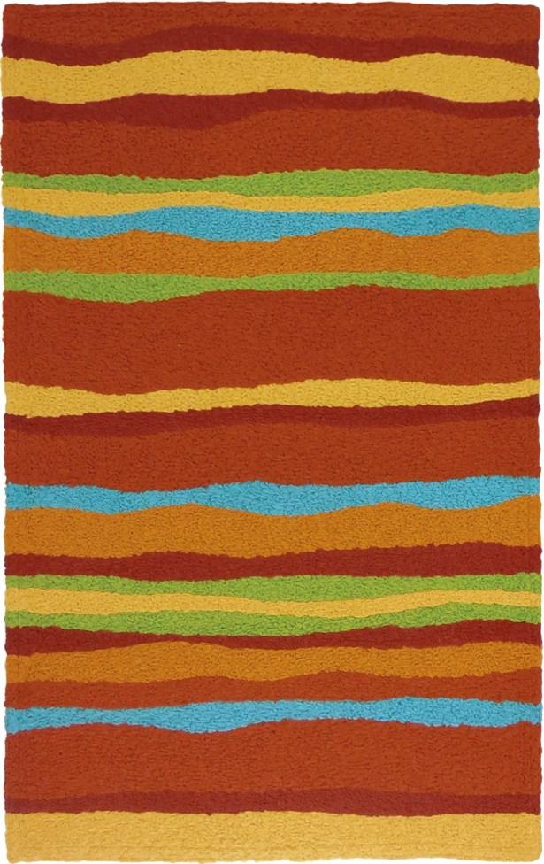 Jakes Fiesta Stripes Hand-Hooked Rust Indoor/Outdoor Area Rug Rug Size: Rectangle 2'10