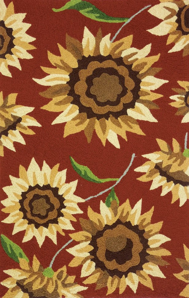 Hlavacek Provence Sunflowers Hand-Hooked Rust Indoor/Outdoor Area Rug Rug Size: Rectangle 4'10