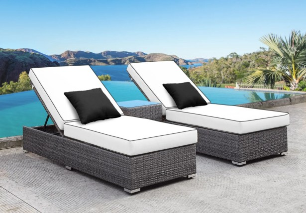 Zavis 3 Piece Reclining Chaise Lounge Set Cushion Color: White/Black