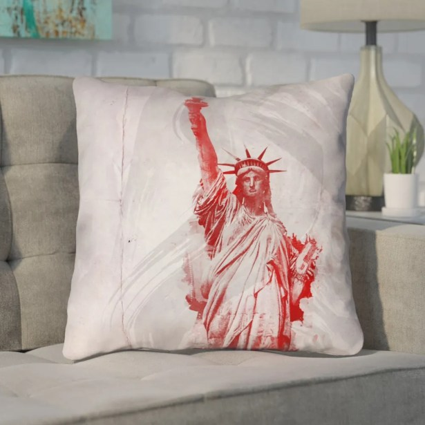 Houck Watercolor Statue of Liberty Printed Zipper Square Throw Pillow Size: 20