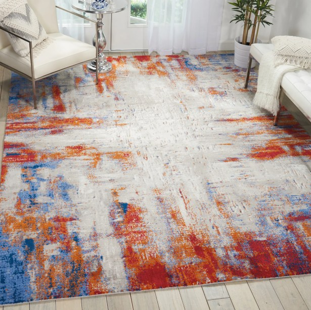 Makela Abstract Ivory/Blue/Red Area Rug Rug Size: Rectangle 8'6