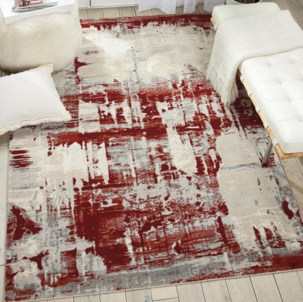 Heeter Ivory/Red Area Rug Rug Size: Rectangle 9'3