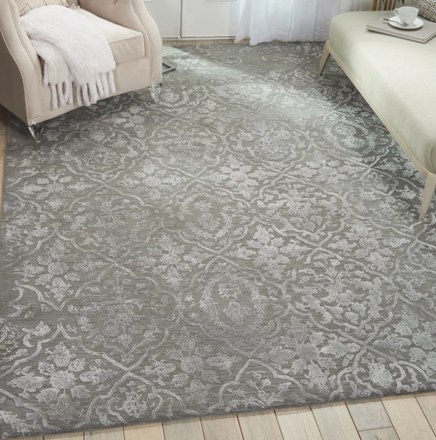 Trevethan Glam Hand-Tufted Charcoal/Silver Area Rug Rug Size: Runner 2'3
