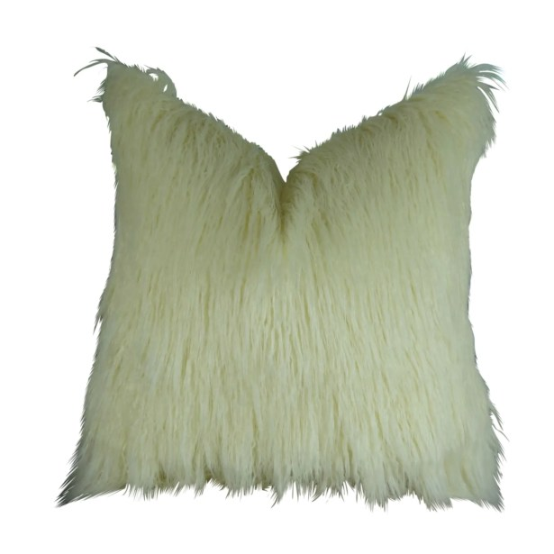 Jowett Curly Mongolian Faux Fur Pillow Fill Material: 95/5 Feather/Down, Size: 20