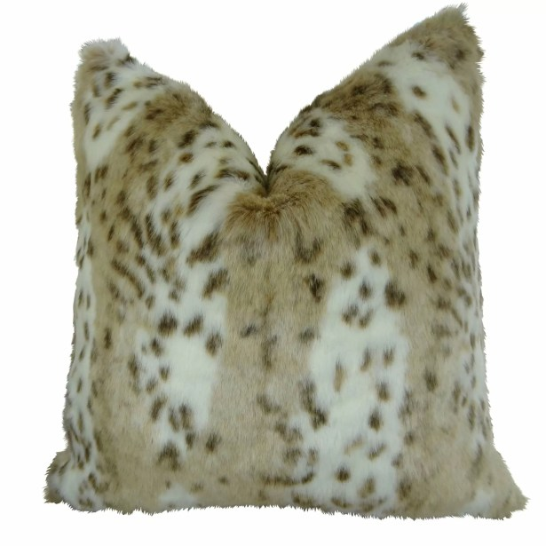 Phipps Leopard Faux Fur Pillow Fill Material: 95/5 Feather/Down, Size: 20