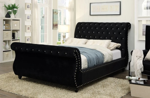 Flannery Upholstered Sleigh Bed Size: California King, Color: Black