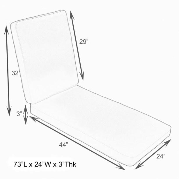 Hinged Outdoor Sunbrella Chaise Lounge Cushion Size: 26