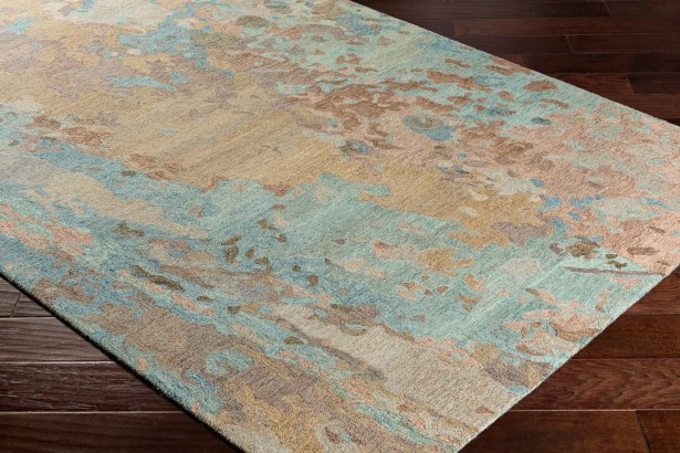 Randall Abstract Hand-Hooked Wool Sky Blue/Tan Area Rug Rug Size: Rectangle 8' x 10'